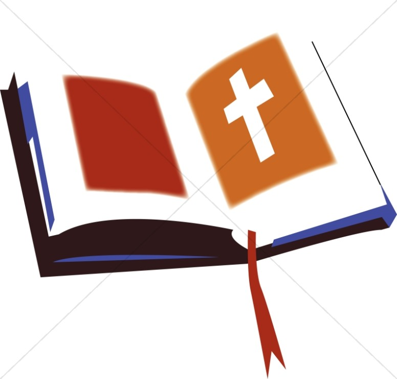 776x740 Open Bible With Red And Orange Bible Clipart