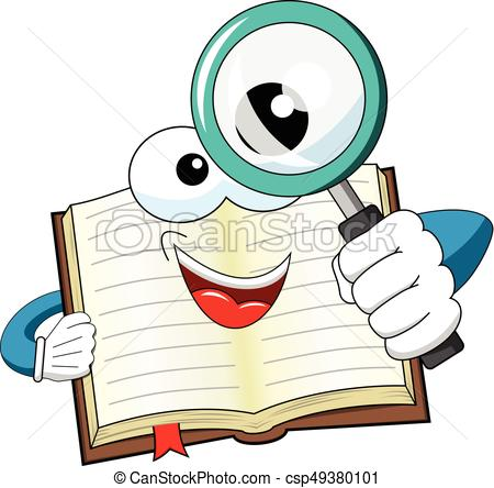 450x444 Mascot Open Book Looking Magnifying Glass Isolated. Mascot