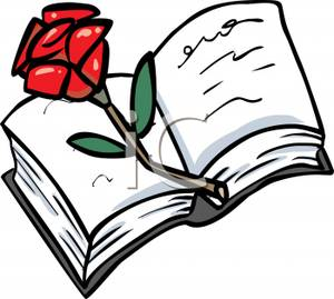 300x269 Clip Art Image A Red Rose On An Open Book