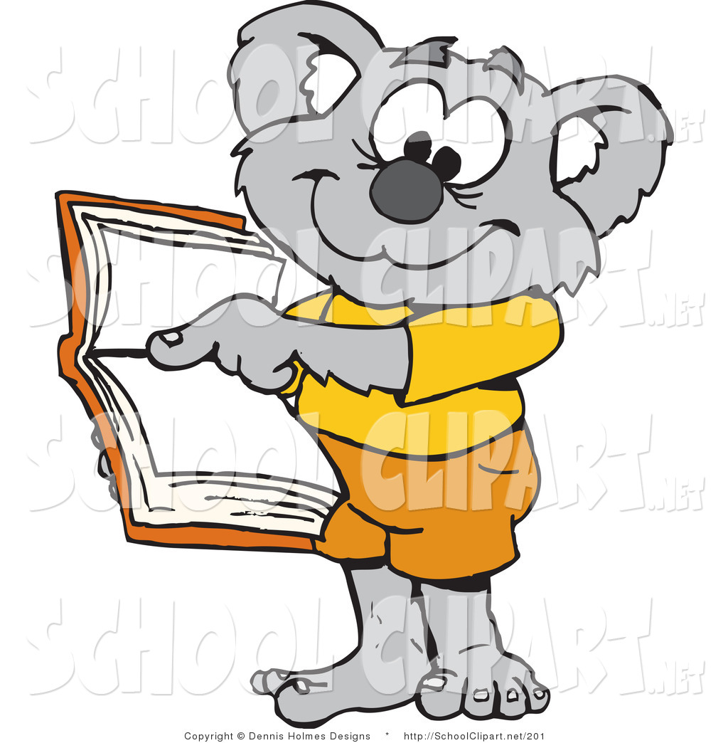 1024x1044 Clip Art Of A Gray Koala Student Pointing To An Open Book By
