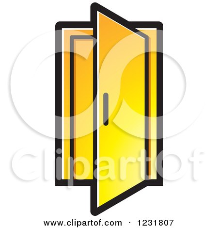 450x470 Clipart Of A Yellow Open Door Icon