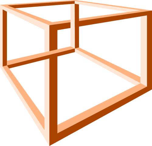 500x483 Optical Illusion Of An Impossible Orange Construction Vector Clip