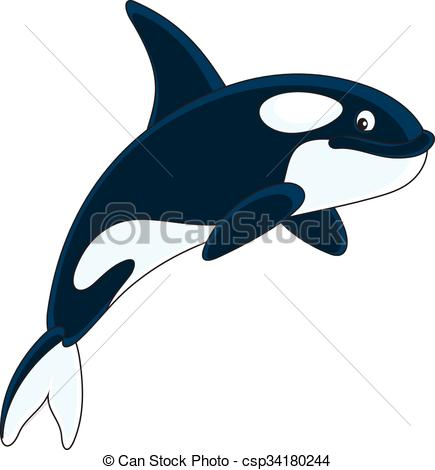 435x470 Killer Whale. Vector Illustration Of An Orca Swimming, On A Eps