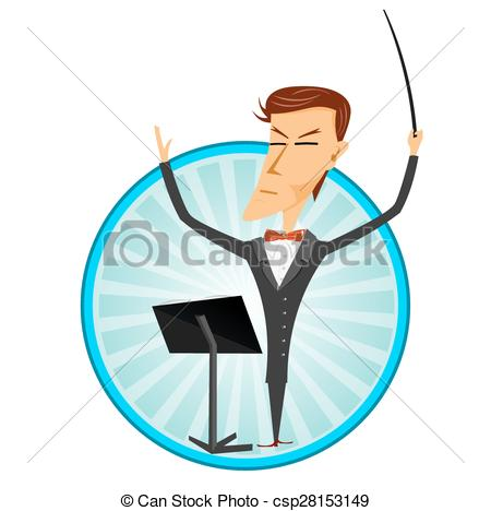 450x468 Illustration Of Cartoon Man Conducting An Orchestra Eps Vector