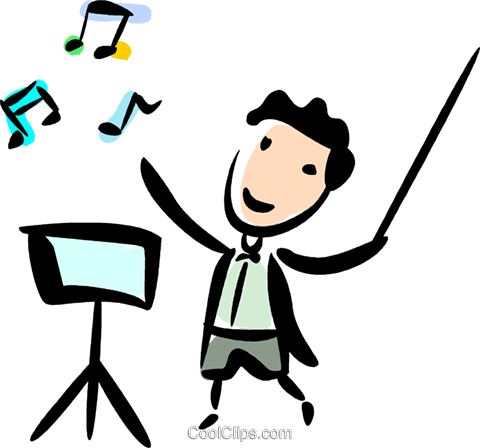 480x448 Orchestra Conductors Royalty Free Vector Clip Art Illustration
