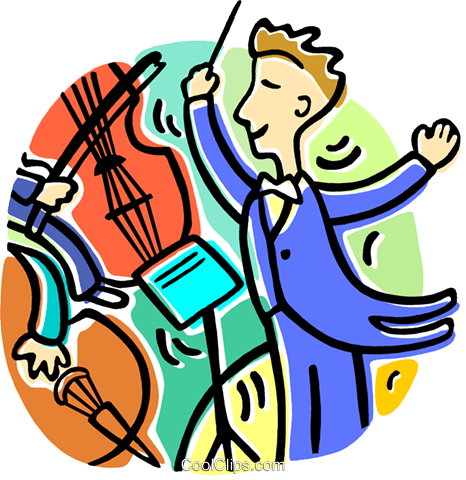 466x480 Conductor Conducting The Orchestra Royalty Free Vector Clip Art