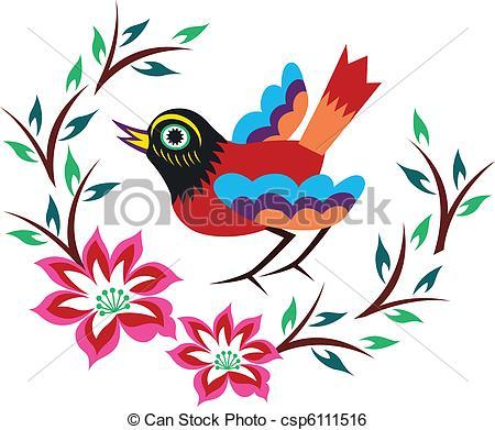 450x391 Chinese Oriental Bird Tree Clip Art Vector