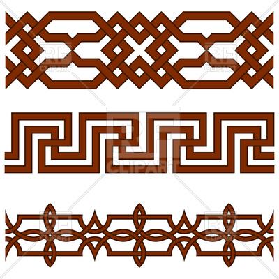 400x400 Oriental Geometrical Seamless Borders Royalty Free Vector Clip Art