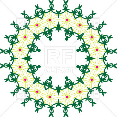 400x400 Oriental Style Round Frame With Symbolic Flowers Royalty Free