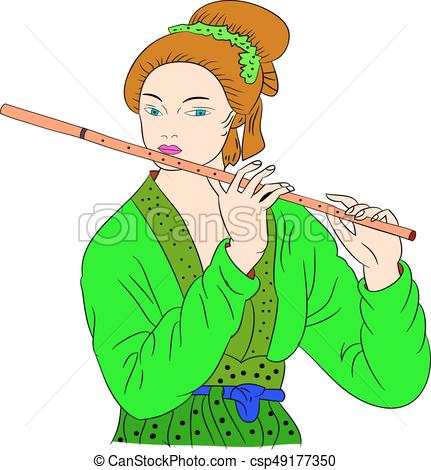 431x470 Flute Clipart Asian Woman Is Playing The Flute Oriental Style