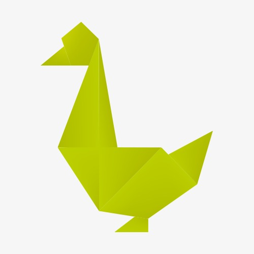 500x500 Origami Duck Material Green PNG Image And Clipart