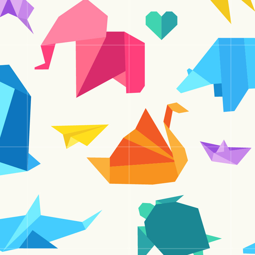 850x850 Origami Paper Folding Digital Clip Art Origami Animals Digital