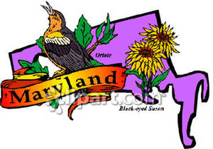 300x211 Purple State Of Maryland With State Symbols Of Oriole And