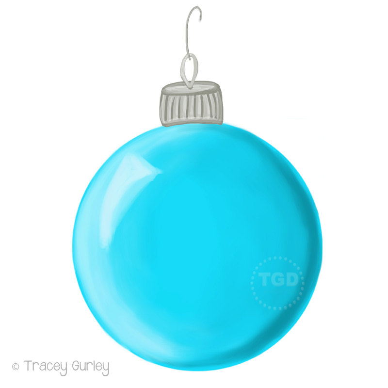 800x800 Turquoise Christmas Ornament Clip Art Hand Painted Clip Art