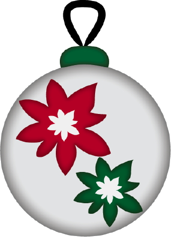340x470 Christmas Ornament Poinsettias Clip Art