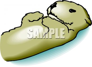 350x254 Cute Cartoon Sea Otter Lying On It's Back In The Water