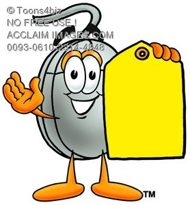 278x300 A Computer Mouse Cartoon Character Holding A Yellow Price Tag