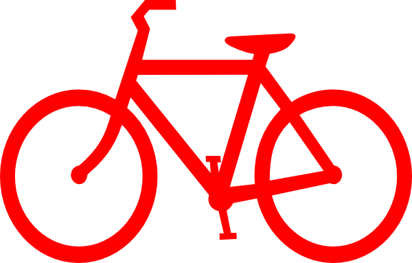600x383 Red Bicycle Outline Clip Art