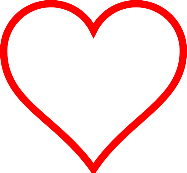 600x557 Red Heart Outline Clipart