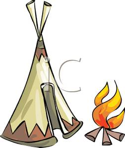 252x300 Royalty Free Clipart Image A Fire Outside A Tent