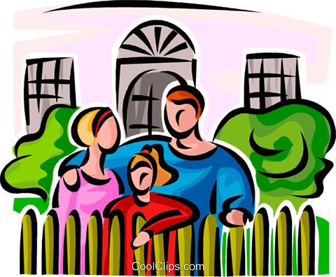 480x396 Family Standing Outside Of The House Royalty Free Vector Clip Art