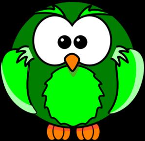 298x291 Green Owl Cartoon Clip Art