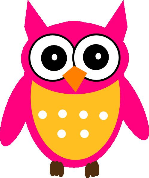 498x595 Cute Cartoon Owls Pink Yellow Owl Clip Art