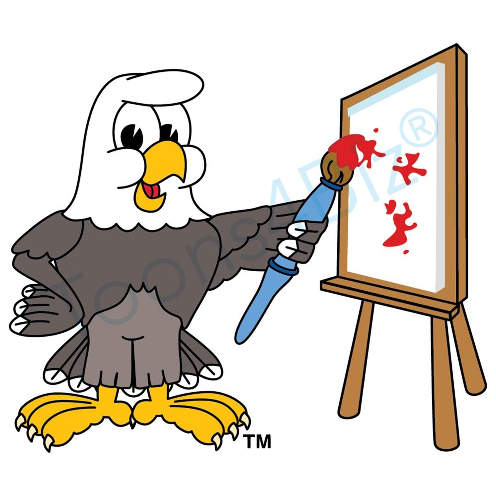 1000x1000 Bald Eagle Mascot Painting Clip Art