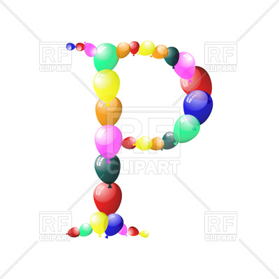 400x400 Color Balloon Letter P Royalty Free Vector Clip Art Image