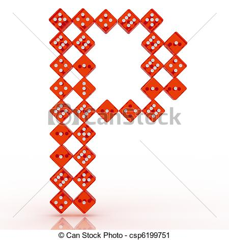 450x470 Dice Font. Letter P. Dice Font Letter P. Red Refractive Dice