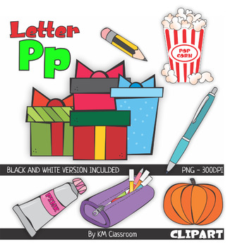 326x350 Letter P Color And Line Art Clipart By Km Classroom Tpt