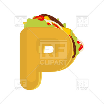 400x400 Letter P Fast Food Font Royalty Free Vector Clip Art Image