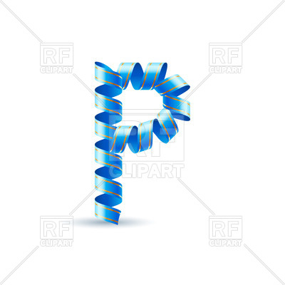 400x400 Letter P Made Of Blue Paper Streamer Royalty Free Vector Clip Art