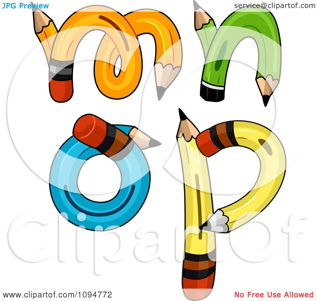 1080x1024 Clipart Pencils Forming Lowercase Letters M Through P