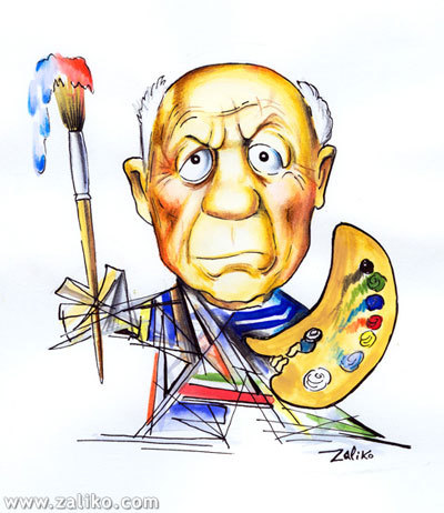 400x462 Pablo Picasso By Zaliko Famous People Cartoon Toonpool