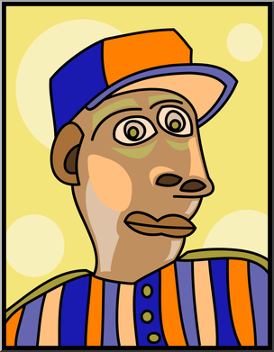 304x391 Clip Art Abstract Portraits Baseball Guy Color I
