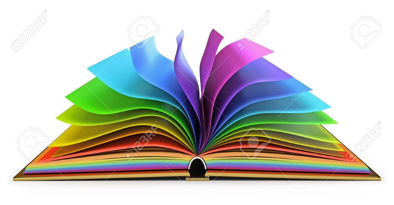 1300x677 Colorful Pages Open Book With White Background Stock Photo