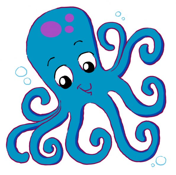 595x593 Cartoon Octopus Coloring Pages Clipart Free Clip Art Images Image