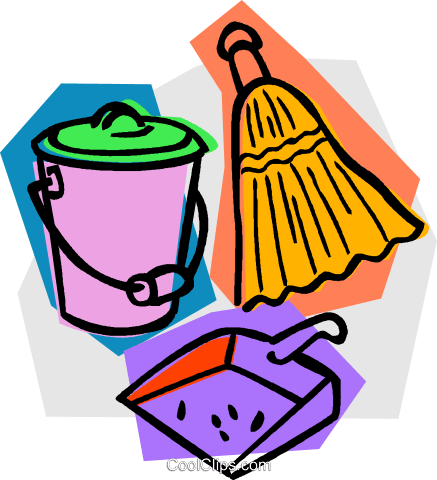 437x480 Broom With Dustpan And Pail Royalty Free Vector Clip Art