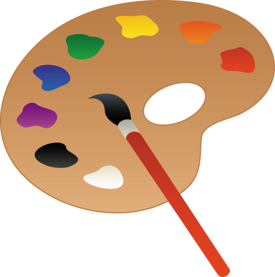 545x550 Clip Art Of A Wooden Art Palette With Paint And Brush Sweet Clip