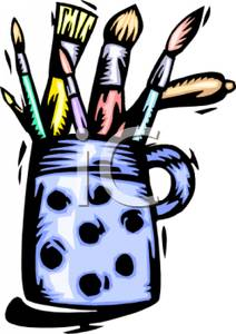 212x300 Clipart Image Paintbrushes In A Cup