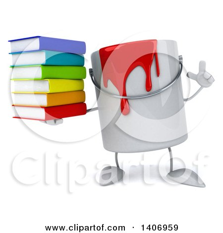 450x470 Clipart A 3d Can Red Paint Character Holding A Stack