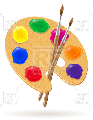 311x400 Palette With Paint And Brushes Royalty Free Vector Clip Art Image