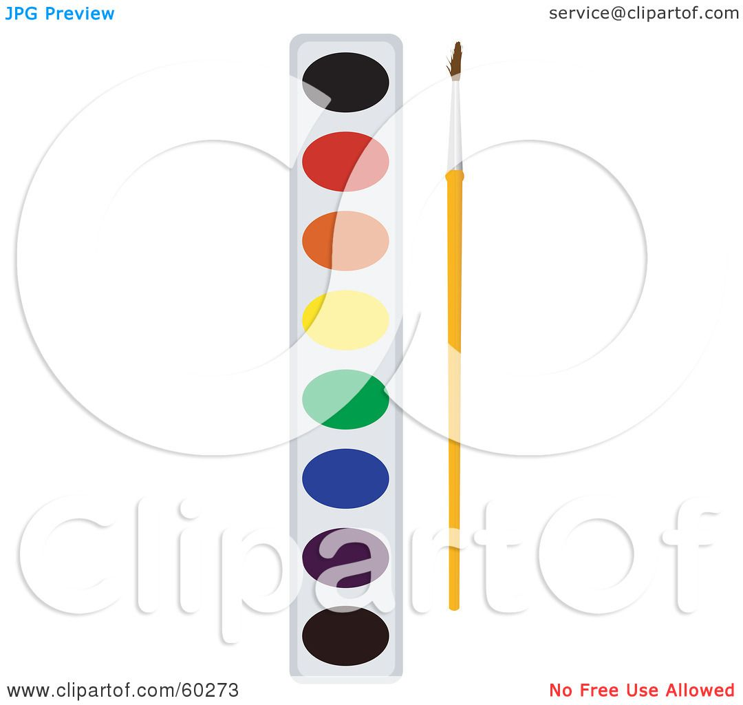 1080x1024 Royalty Free (Rf) Clipart Illustration Of A Paintbrush Resting By
