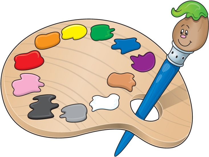 733x550 Art Pallet Clipart Illustration Hand And Palette With Paint White