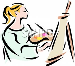 300x262 A Woman Holding A Palette And Paintbrush Clip Art Image