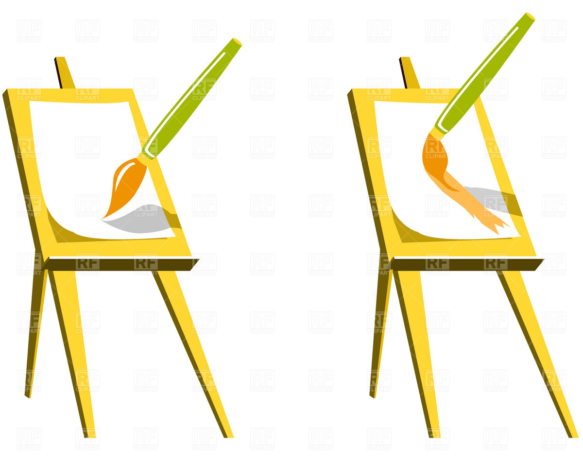 1200x941 Easel And Paintbrush Vector Image Vector Artwork Of Objects