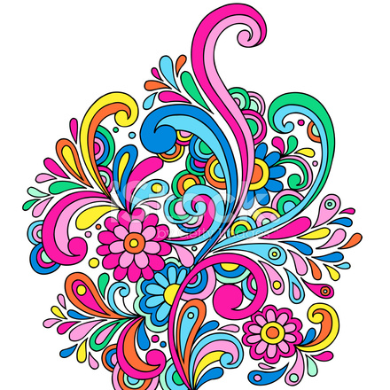 440x440 Groovy Psychedelic Abstract Paisley Doodle Stock Vector