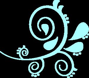 299x264 Paisley Curves Blue Clip Art