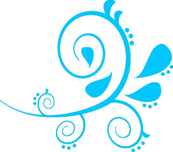 600x529 Swirl Paisley Aqua Clip Art